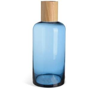 Glasvase mit Holz, D:12cm x H:30cm, blau