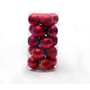 24 Teile/Satz Christbaumschmuck Multi-Color Weihnachtskugel Kunststoff Geschenk Ball für Weihnachtsfeier Urlaub Dekoration - Rot 8 cm