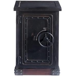 Beistellmöbel im Safe-Design aus Holz, B 53 cm, schwarz antik Bank Bank