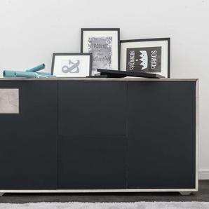 Sideboard Wildeiche 150x42x78 ice grey lackiert HELSINKI #202