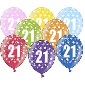 Libetui 10 kunterbunte Luftballons Metallic 30cm Deko zum 21.Geburtstag Party Happy Birthday Dekoration (Zahl 21)