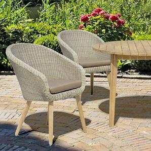 GARDEN PLEASURE Gartenmöbelset »ARVADA«, 5-tlg., 4 Sessel, Tisch, Akazie/Polyrattan, inkl. Auflagen