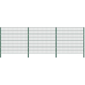 Zaunfeld mit Pfosten Eisen 5,1 x 1,6 m Grün - VIDAXL