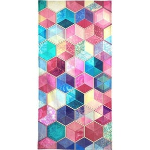 Handtuch »Topaz And Rubey Crystal Honeycomb Cubes«, Juniqe, Weiche Frottee-Veloursqualität