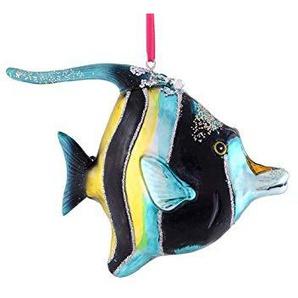 Gift Company - Hänger - Halfterfisch - Glas - blau/schwarz - 13,2cm x 10,8cm x 4,8cm