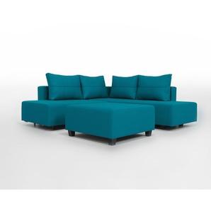 Gemini M - Kompaktes Ecksofa mit Schlaffunktion für 2 Erwachsen, tuerkis, blau, moderner Webstoff