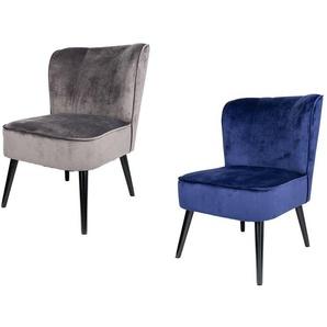 LIVARNO LIVING® Sessel, in Samtoptik, Beine aus Buchenholz, mit geschwungener Rückenlehne