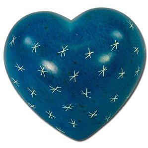 Großes Speckstein-Herz with Love from Africa, blau, Sterne
