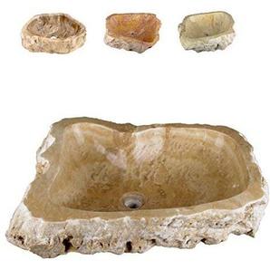 Divero Natur-Stein Waschschale Meran Aufsatz-Waschbecken Handwaschbecken Marmor creme/hellbraun Ø ca. 45 cm