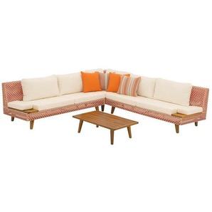 OUTLIV. Jamaika Loungeecke 4tlg. Aluminium/Geflecht inkl. Kissen Orange-Rot-Weiß/Weiß