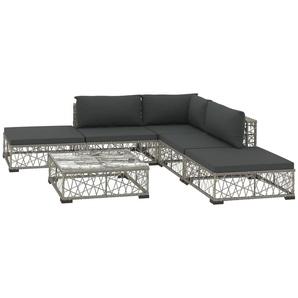 6-tlg. Garten-Lounge-Set mit Auflagen Poly Rattan Grau - VIDAXL