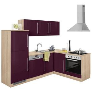 HELD MÖBEL Winkelküche mit E-Geräten »Samos«, Stellbreite 230/170 cm, lila