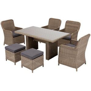 """Gartenmöbel-Set """"Kapstadt"""", Rattan, Tisch + 4 Sessel + 2 Hocker, grau-Meliert,"""