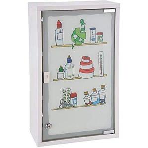 Spetebo Metall Medizinschrank in weiß mit Milchglas und Buntem Aufdruck - Arzneischrank abschließbar in schöner Optik
