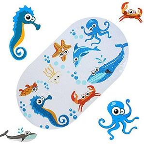 FEIDOL Rutschfeste Baby Badematte mit Saugnäpfen für Wanne, Dusche, schimmelresistent, Natur PVC, 68,6 x 38,1 cm Cute Muster Design, Badewanne Matte für Kinder
