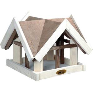 Dobar Vogelhaus mit Antikfinish 37 x 37 x 43 cm Braun-Weiß