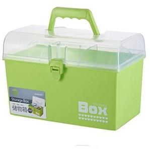 Tosbess Plastik Medizinbox Erste Hilfe-Aufbewahrungskasten Medizin Box mit Griff mit Herausnehmbarem Ablagefach Arzneimittelbox Medikamentenbox Organizer Medikamenten Box Koffer, 26×18×15cm