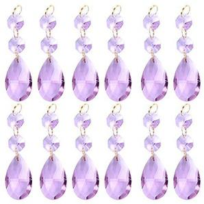 BIHRTC 12 Stück Violett Kristall Teardrop Träne Kronleuchter Prisms Anhänger Glass Glasperle Teile Perlen Stränge für Kronleuchter, Kerzenleuchter, Deckenleuchten, Hochzeit Display Dekoration