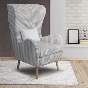 Home affaire Sessel »Tivat«, wahlweise mit Hocker mit Beinen aus Buchenholz und Zierkissen, blau, Struktur Hahnentritt