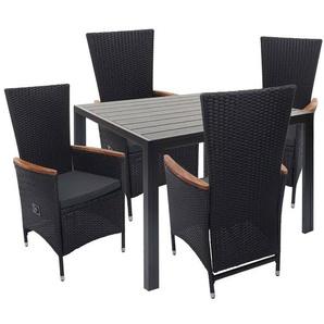 Poly-Rattan Garnitur HHG-601, Sitzgruppe Gartengarnitur, verstellbare Lehne Akazie Holz ~ schwarz