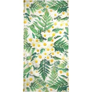 Handtuch »Textured Vintage Daisy And Fern«, Juniqe, Weiche Frottee-Veloursqualität