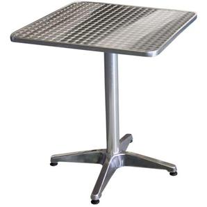 Wohaga® Bistrotisch, Aluminium, 60x60cm, 4er-Fuss,, Tischplatte in Schleifoptik / Gartentisch Klapptisch Beistelltisch Balkontisch Gartenmöbel Balkonmöbel Terrassenmöbel
