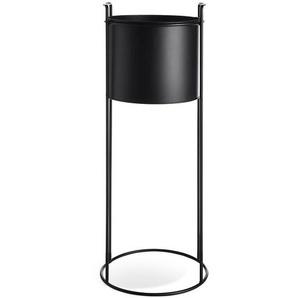 Übertopf mit Metallgestell, D:23cm x H:62cm, schwarz