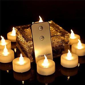 Amzbeauty 12pcs Warmweiß LED Teelichter Batteriebetrieben mit Fernbedienung, Elektrisch Flackernd Kerzen Hell Ohne Duft für Weihnachten, Aussen Urlauben Dekorationen