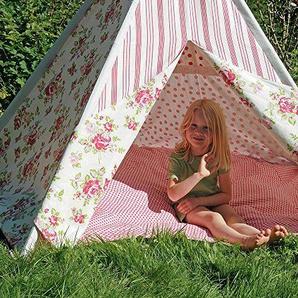 HAB & GUT (ZK001 Teepee - hochwertiges Stoffzelt für Kinder, Blumenmuster pink/Weiss, Höhe 135 cm, 183 cm - Holzstangen, Baumwolle, Indoor