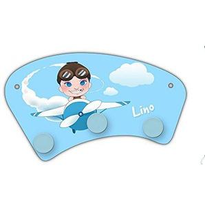 Wand-Garderobe mit Namen Lino und Motiv mit Pilot & Flugzeug für Jungen | Garderobe für Kinder | Wandgarderobe