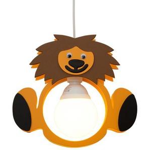 Pendelleuchte Löwe Holz braun, gelb | mehrfarbig | 30 cm | 30 cm | 7 cm | Möbel Kraft