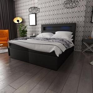 Boxspringbett Milos mit LED und Bettkasten, 140 x 200 cm
