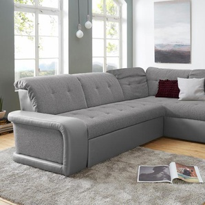 Domo Collection Ecksofa, grau, hoher Sitzkomfort, FSC®-zertifiziert