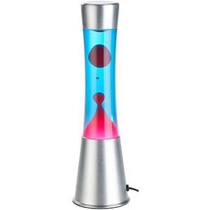 Lunartec Lavaleuchte: Lavalampe mit blauer Flüssigkeit & rotem Wachs, Glas & Aluminium (Magma Lampe)