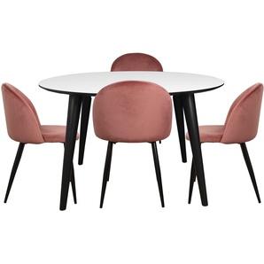 Essgruppe | Esstisch Schwarz/Weiß Rund mit 4 Stühlen Rosa - Nora & Alice (Lieferbar ab KW 52)