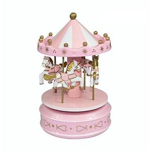 Pink Rose Dream Carousel Horse Holz Karussell Pferd Spieluhr Fairground Spieluhr Geburtstagsgeschenk Home DecorDecor (Rosa)