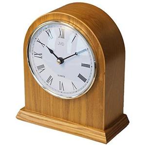 CLOCKVILLA HETTICH-UHREN Klassische Tischuhr Kaminuhr Kamin Uhr Holz Eiche hell gut lesbar Quarz