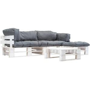 4-tlg. Garten-Paletten-Sofagarnitur mit Grauen Kissen Holz - VIDAXL