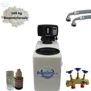 Wasserenthärter MKB 16 Eco-Line von Wasseraufbereitung | Entkalker mit Bypass-Funktion für 100% kalkfreies Wasser | Komplettset inkl. 100 kg Regeneriersalz - AQUINTOS-WASSERAUFBEREITUNG