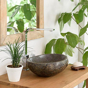wohnfreuden Naturstein Waschbecken 30 cm rund oval aussen Natur ? einzeln geprüft und fotografiert ? Suchen Sie Ihr Waschbecken mit Größe und Farbe aus ? Stein Aufsatzwaschbecken für Bad WC