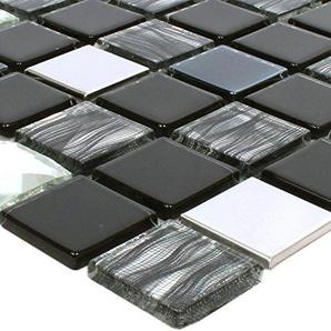 Mosaikfliesen Glas Edelstahl Mix Malaya Schwarz Silber Quadrat