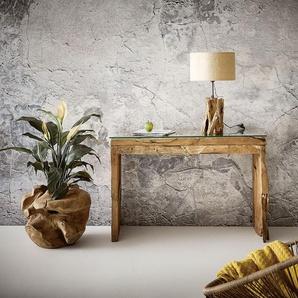 Konsole Ramiro 120x40 cm Teak Natur Glasplatte Unikat, Beistelltische