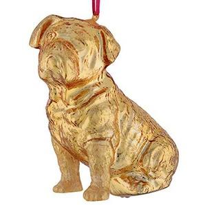 Gift Company - Hänger - Christbaumschmuck, Baumschmuck - Hund Bulldogge Gold - Glas - (LxHxT): 8,2 x 10,7 x 5,7 cm