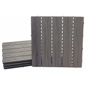 WPC Bodenfliese HHG-167, Holzoptik Balkon/Terrasse, 3D-Struktur linear antik-braun ~ 4x je 50x50cm = 1qm