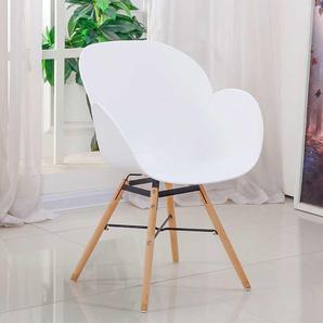 Armlehnstuhl in Wei� Kunststoff Massivholzgestell (Set)
