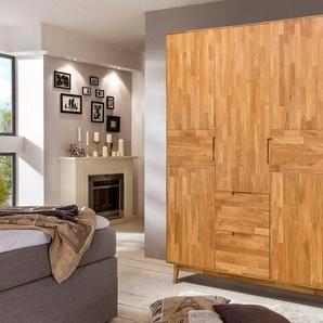 Home affaire Kleiderschrank »Scandi« aus massivem Eichenholz und eingefrästen Griffen, Höhe 202 cm