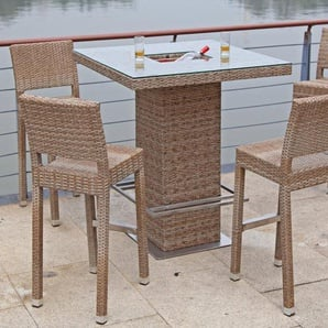 GARDEN PLEASURE Bar-Set »ALVITO«, 5-tlg., 4 Barhocker, Tisch, Polyrattan