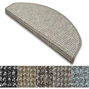 casa pura Stufenmatten Carlton   Flachgewebe dezent Gemustert   Treppenteppich in Zwei Formen   mit Teppich Läufer kombinierbar (Grau-Beige - halbrund - 1 Stück)