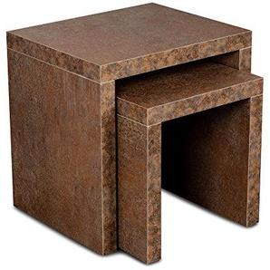 levandeo Couchtisch 2 Satztisch Holz 44x44x36cm Rost-Optik Tisch Beistelltisch Deko Sofatisch Ablage Fest Verleimt Keine Montage