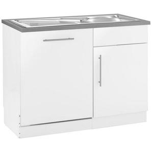 wiho Küchen Spülenschrank »Cali« 110 cm breit, inkl. Tür/Sockel für Geschirrspüler, weiß